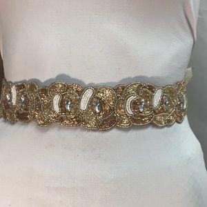 Altar'd state beaded gold ribbon belt